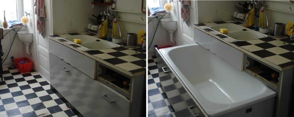 A before-and-after shot of my famed bathtub-in-a-drawer.
