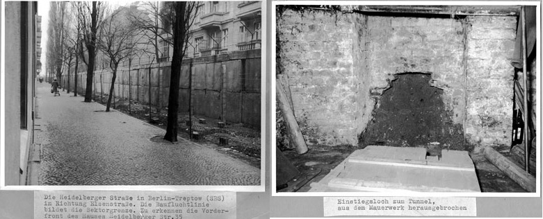 Left: Heidelberger Straße in 1961. Right: The entrance to the tunnel where Jercha died. Photos from police archives.